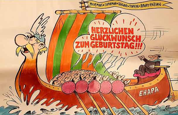 Adolf Kabatek als Steuermann der Ehapa-Galeere