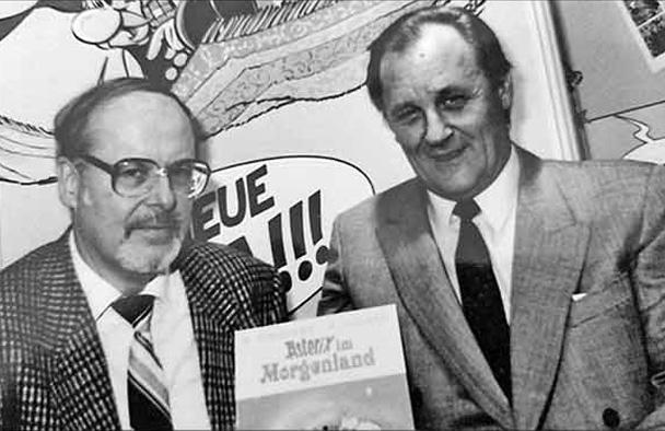 Adolf Kabatek (links) und Autor und Zeichner Albert Uderzo