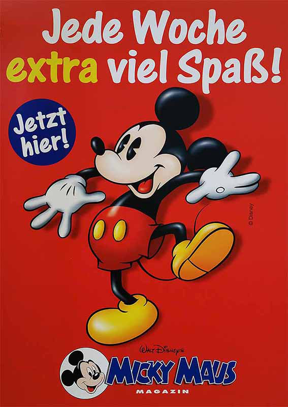 Werbeposter für Micky Maus Magazin